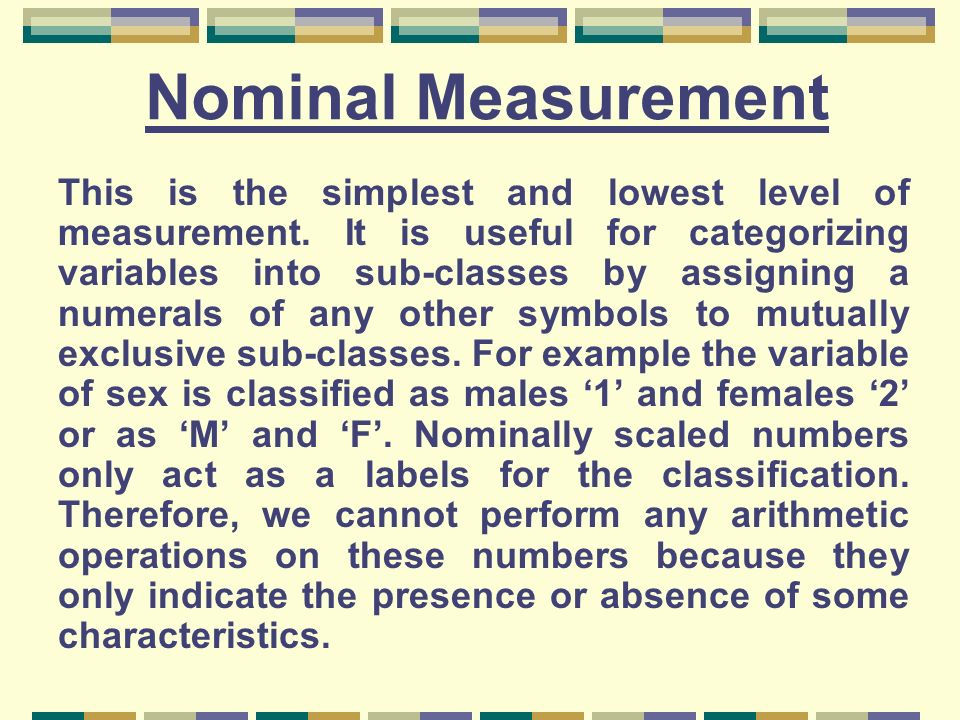 Nominal Measurement