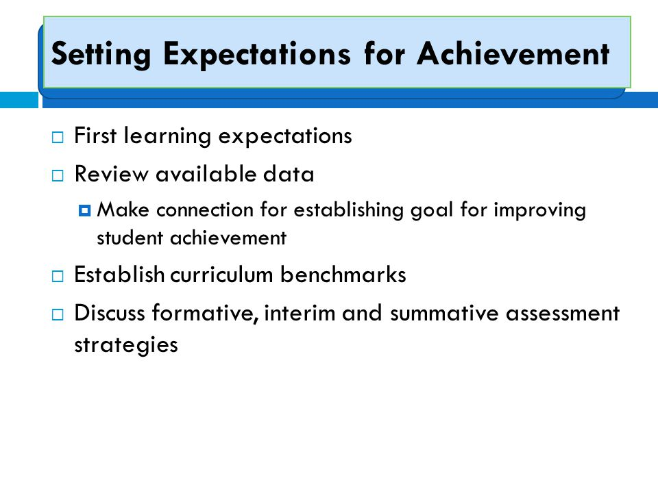 Setting Expectations for Achievement