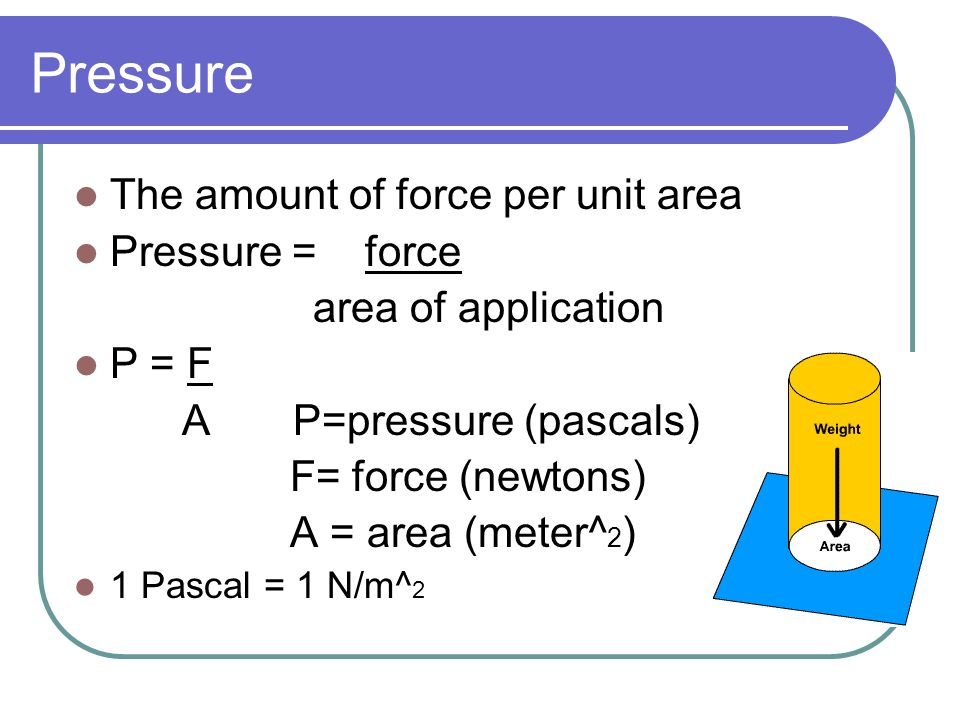 Pressure The amount of force per unit area Pressure = force