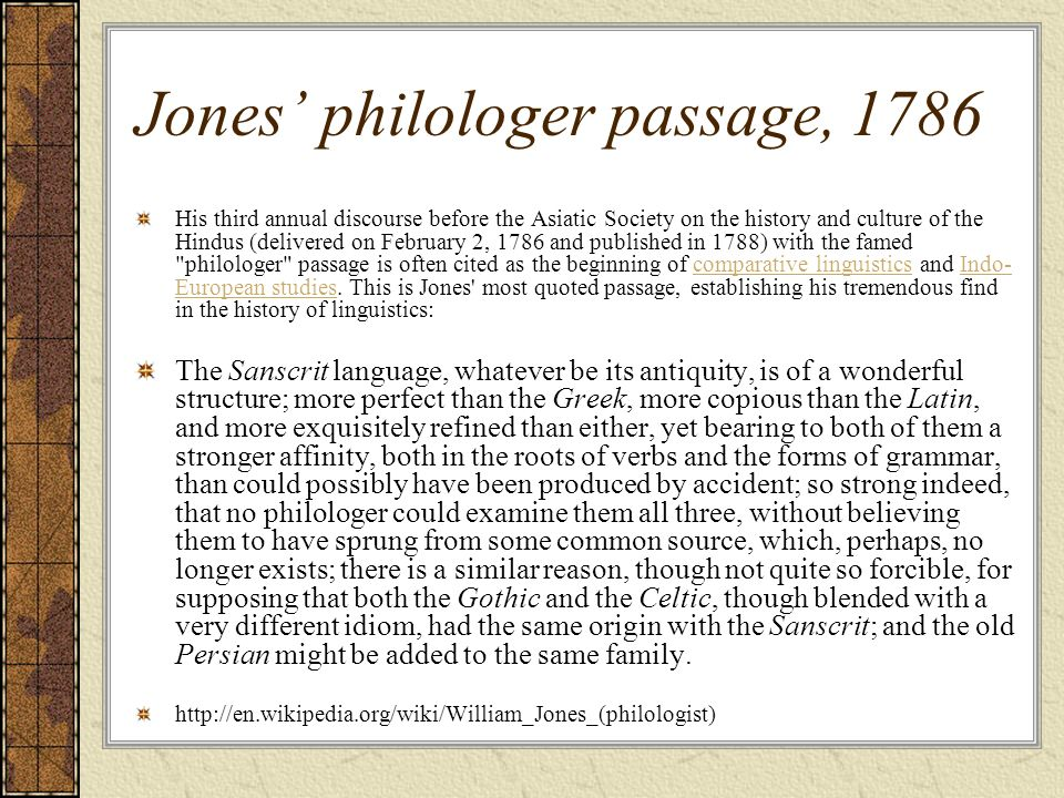 Jones' philologer passage, 1786