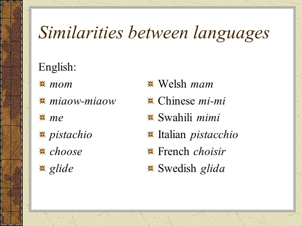 Similarities between languages