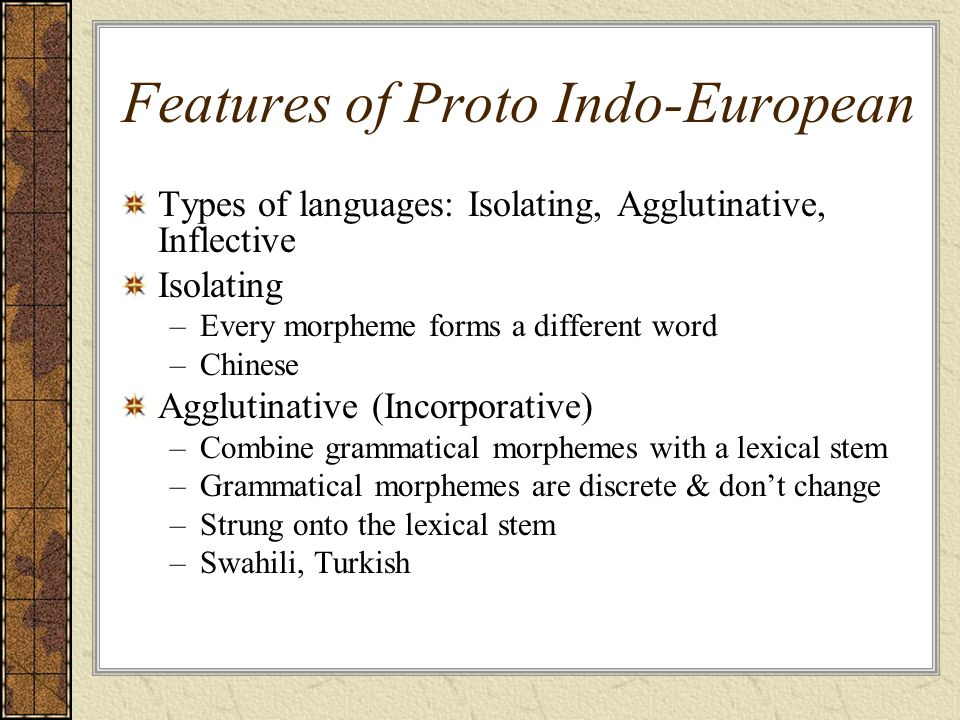 Features of Proto Indo-European
