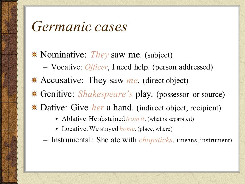 Germanic cases Nominative: They saw me. (subject)