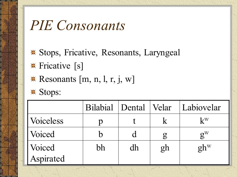 PIE Consonants Stops, Fricative, Resonants, Laryngeal Fricative [s]
