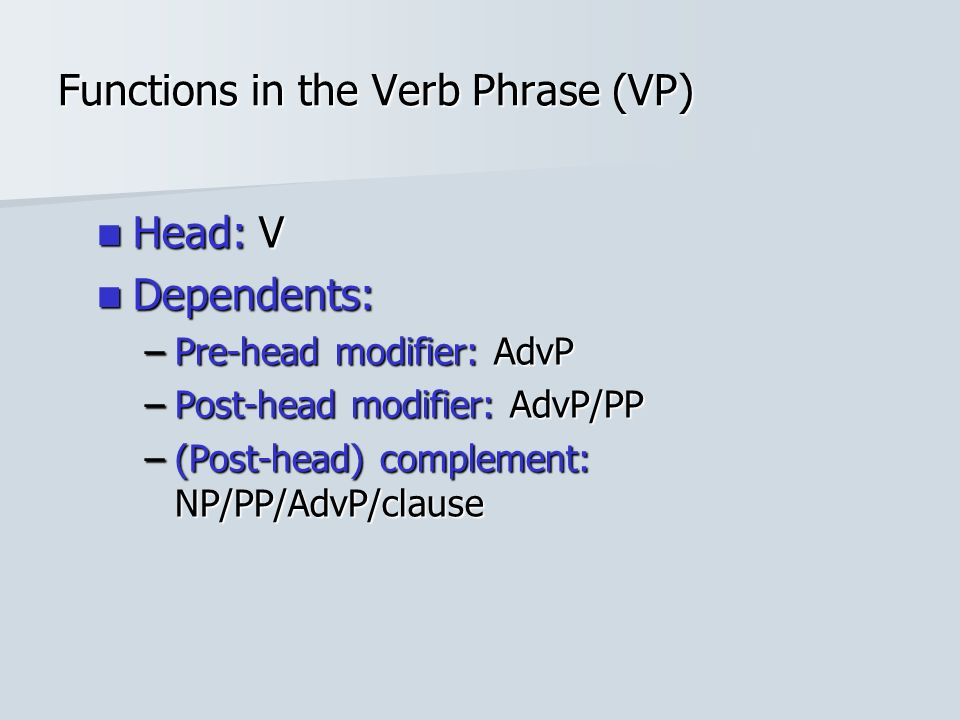 Functions in the Verb Phrase (VP)