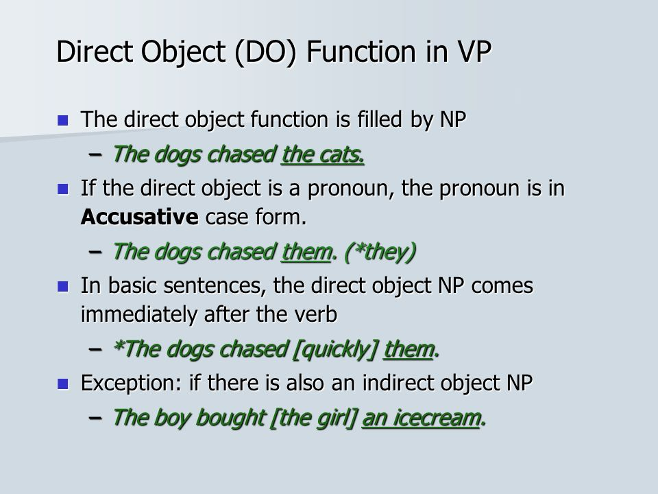 Direct Object (DO) Function in VP