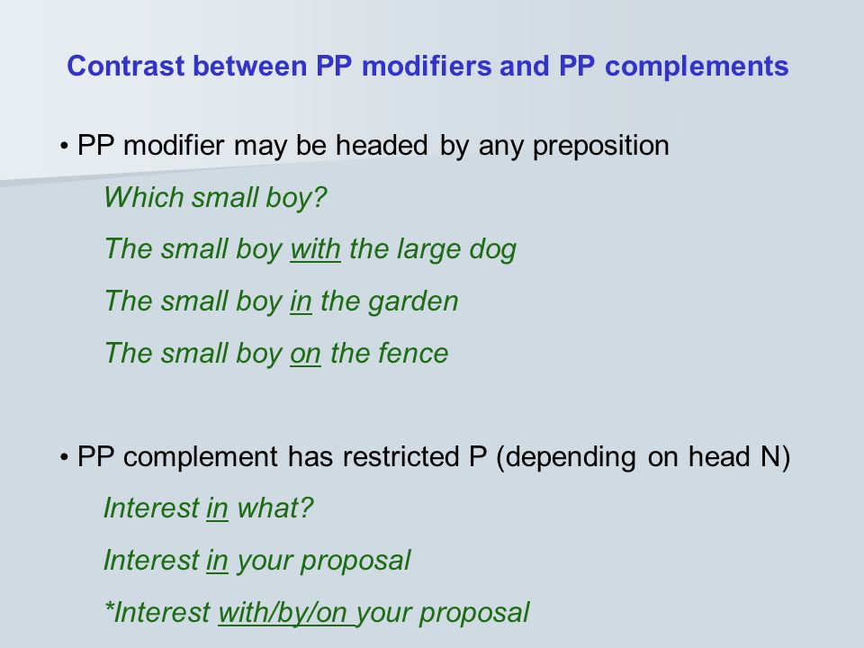 Contrast between PP modifiers and PP complements
