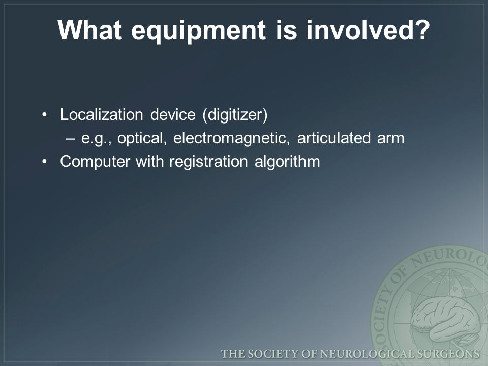 What equipment is involved