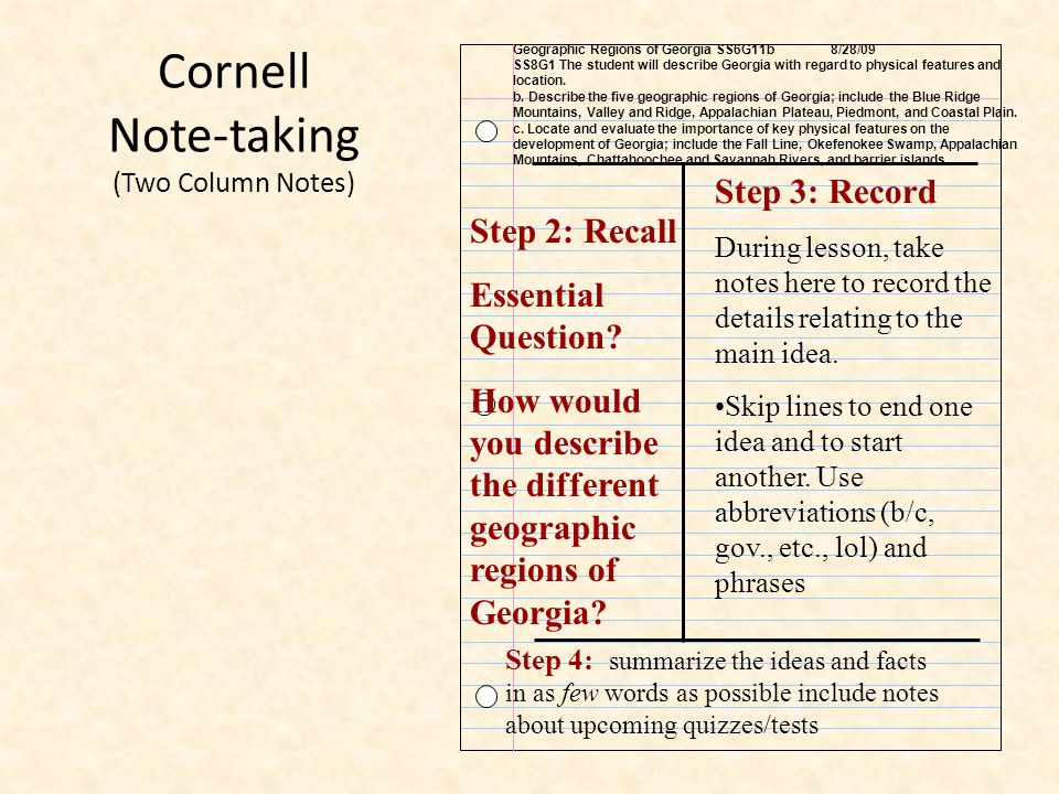 Cornell Note-taking (Two Column Notes)