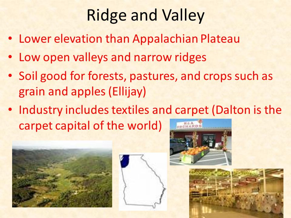 Ridge and Valley Lower elevation than Appalachian Plateau