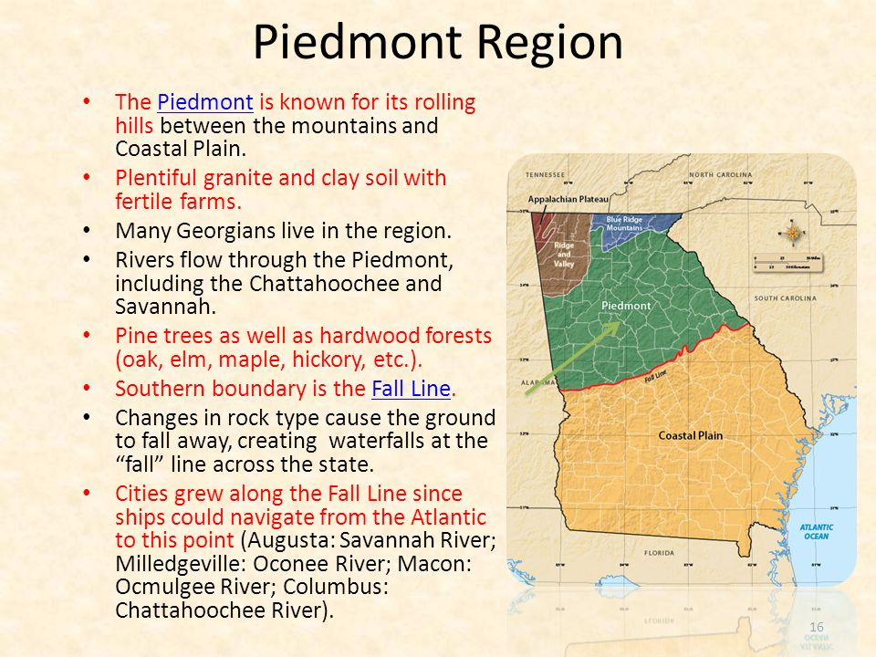 Piedmont Region The Piedmont is known for its rolling hills between the mountains and Coastal Plain.