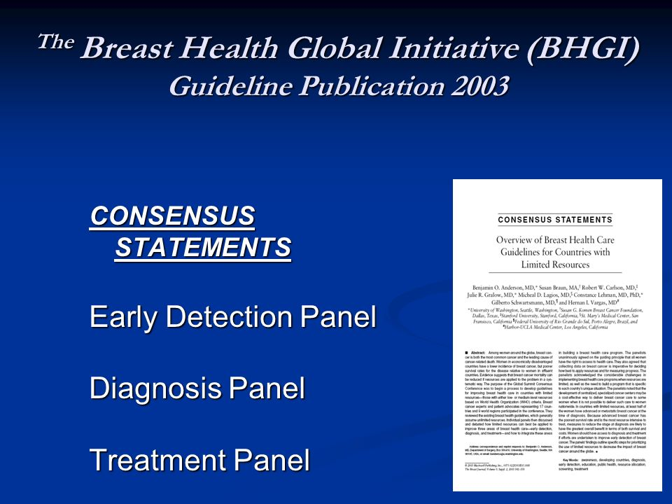 The Breast Health Global Initiative (BHGI) Guideline Publication 2003