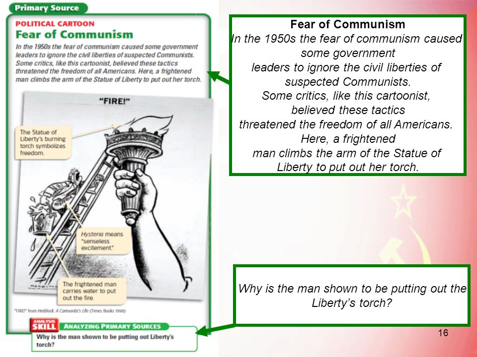 In the 1950s the fear of communism caused some government