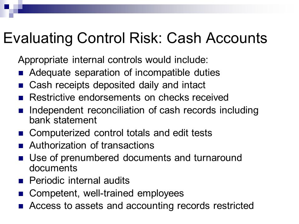 Evaluating Control Risk: Cash Accounts