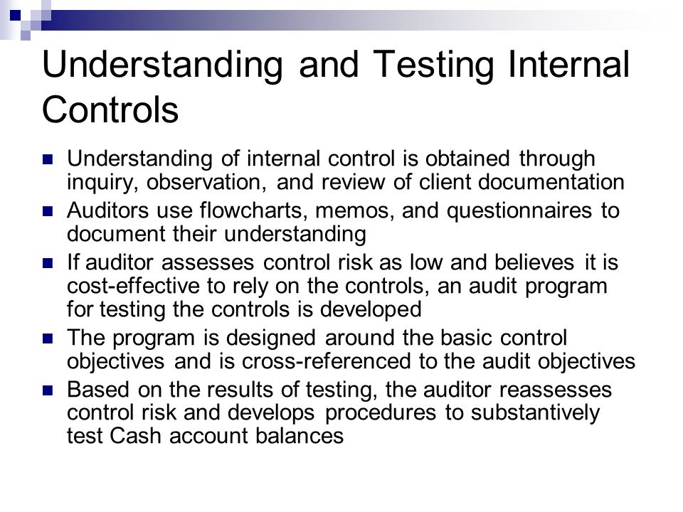 Understanding and Testing Internal Controls