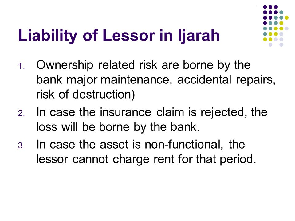 Liability of Lessor in Ijarah