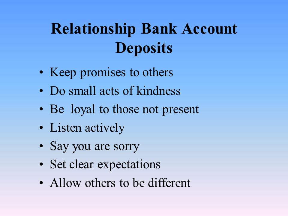 Relationship Bank Account Deposits