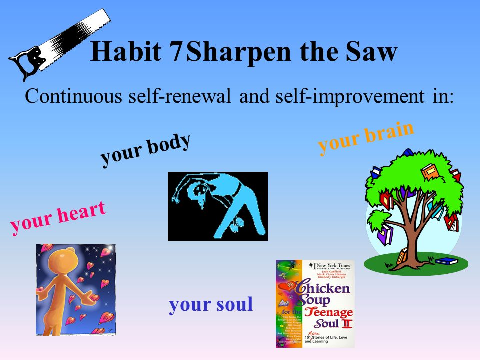 Habit 7 Sharpen the Saw Continuous self-renewal and self-improvement in: your brain. your body. your heart.