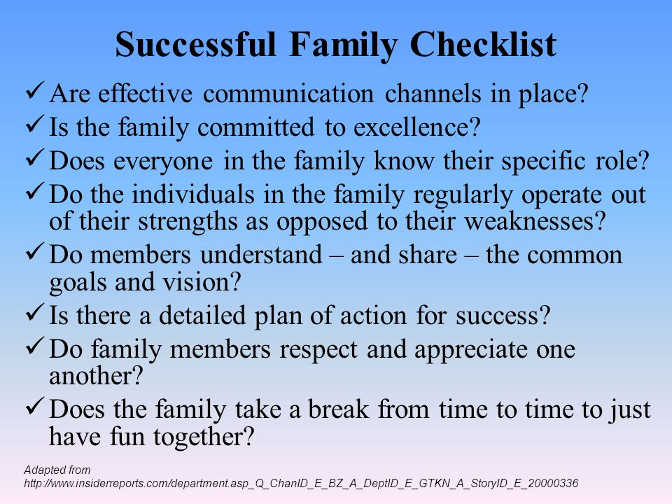 Successful Family Checklist