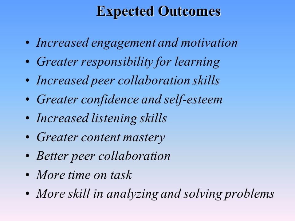 Expected Outcomes Increased engagement and motivation