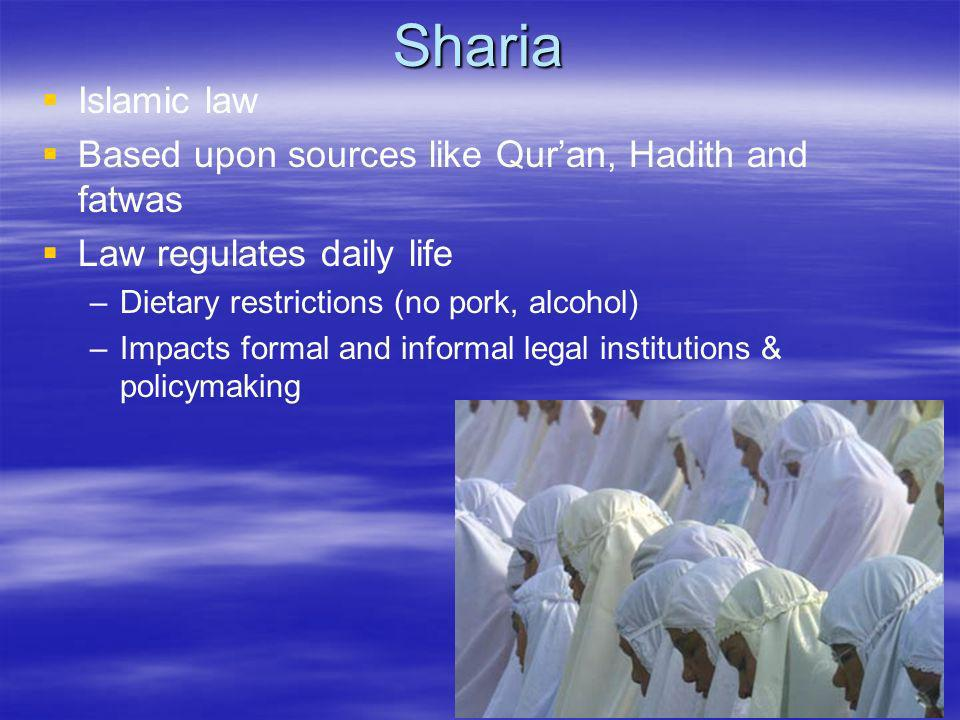 Sharia Islamic law Based upon sources like Qur'an, Hadith and fatwas