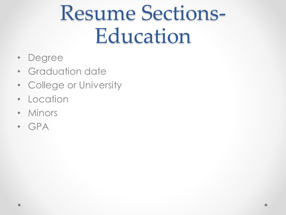 Resume Sections-Education