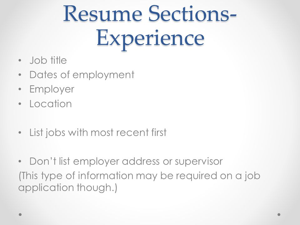 Resume Sections- Experience