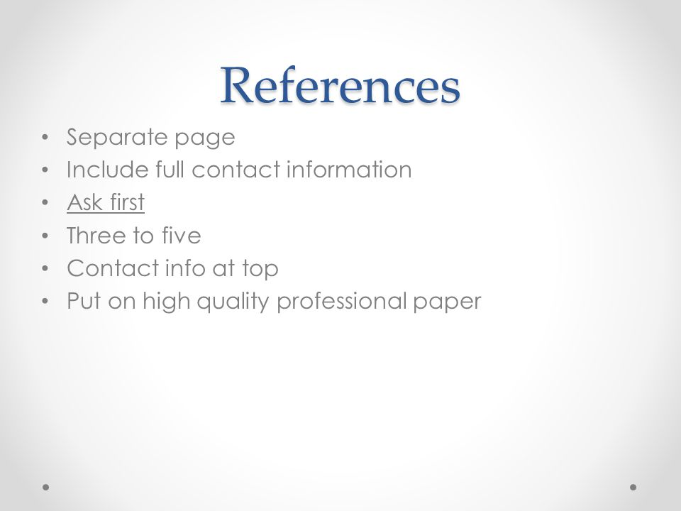 References Separate page