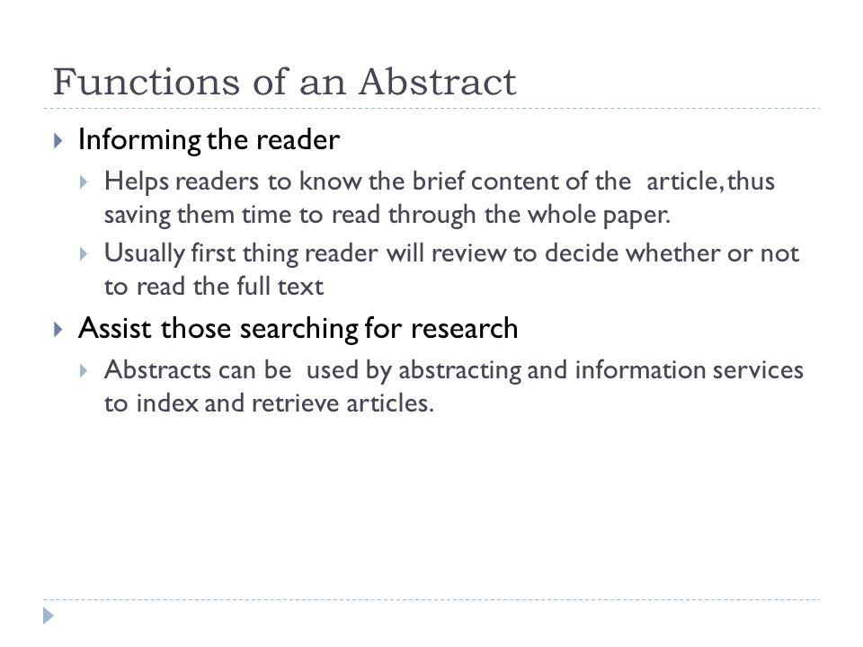 what is an abstract when writing a paper