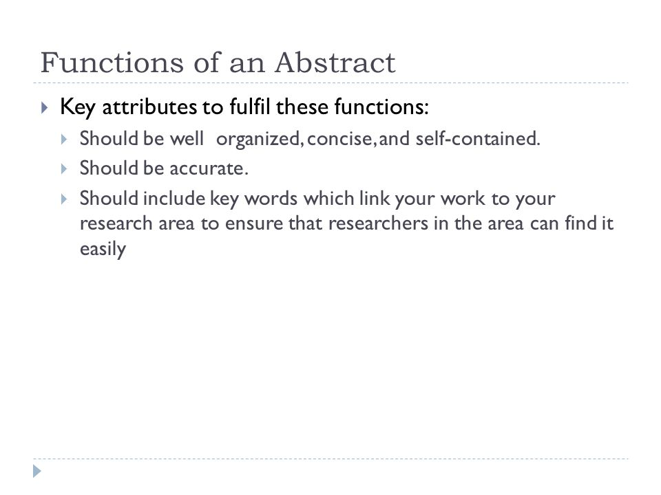 key attributes research paper The style and format of research papers varies from subject to subject (and indeed journal to journal) the key behind the work don't just repeat the abstract what was the key idea which nobody else spotted it should not reflect the actual historical progress of your research (which may.