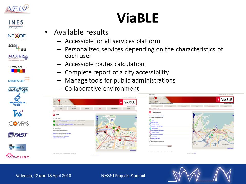 ViaBLE Available results Accessible for all services platform