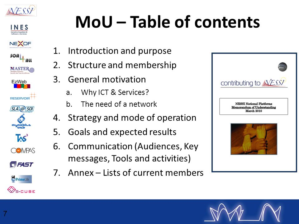 MoU – Table of contents Introduction and purpose