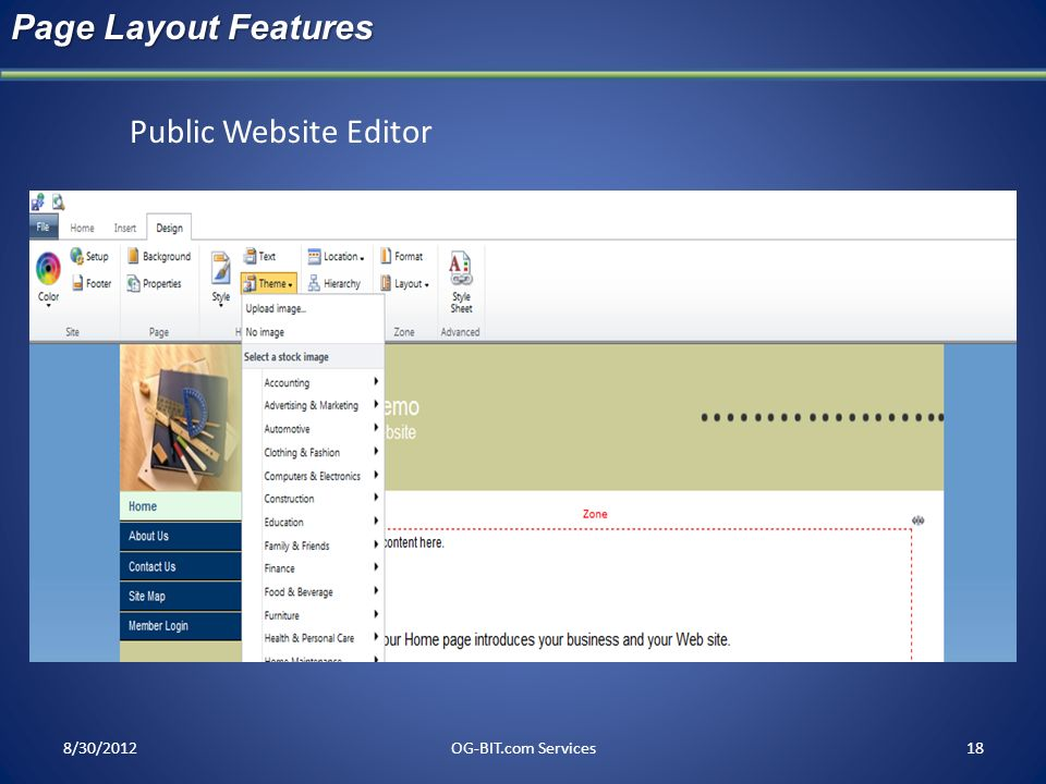 Page Layout Features Public Website Editor head 8/30/2012