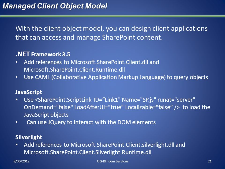 Managed Client Object Model