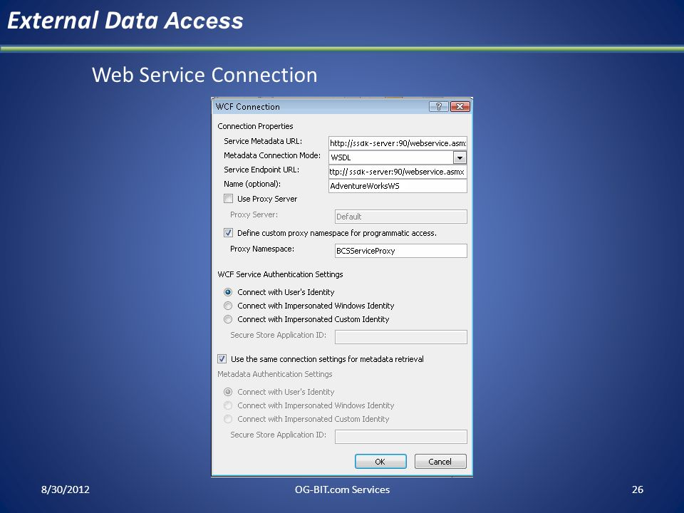 External Data Access Web Service Connection head 8/30/2012