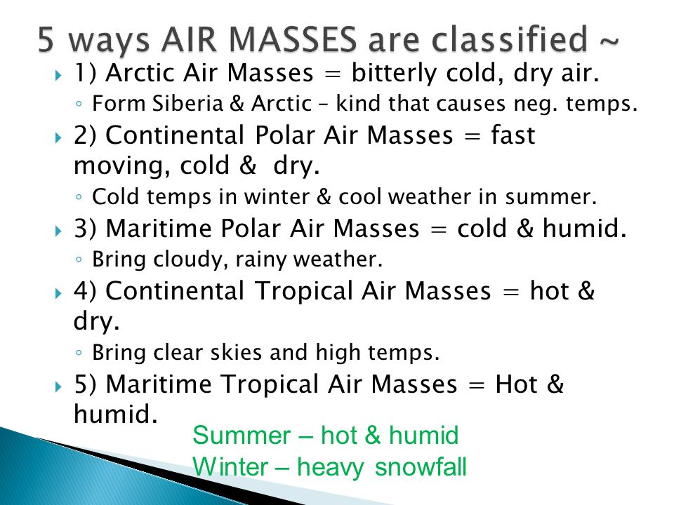 5 ways AIR MASSES are classified ~
