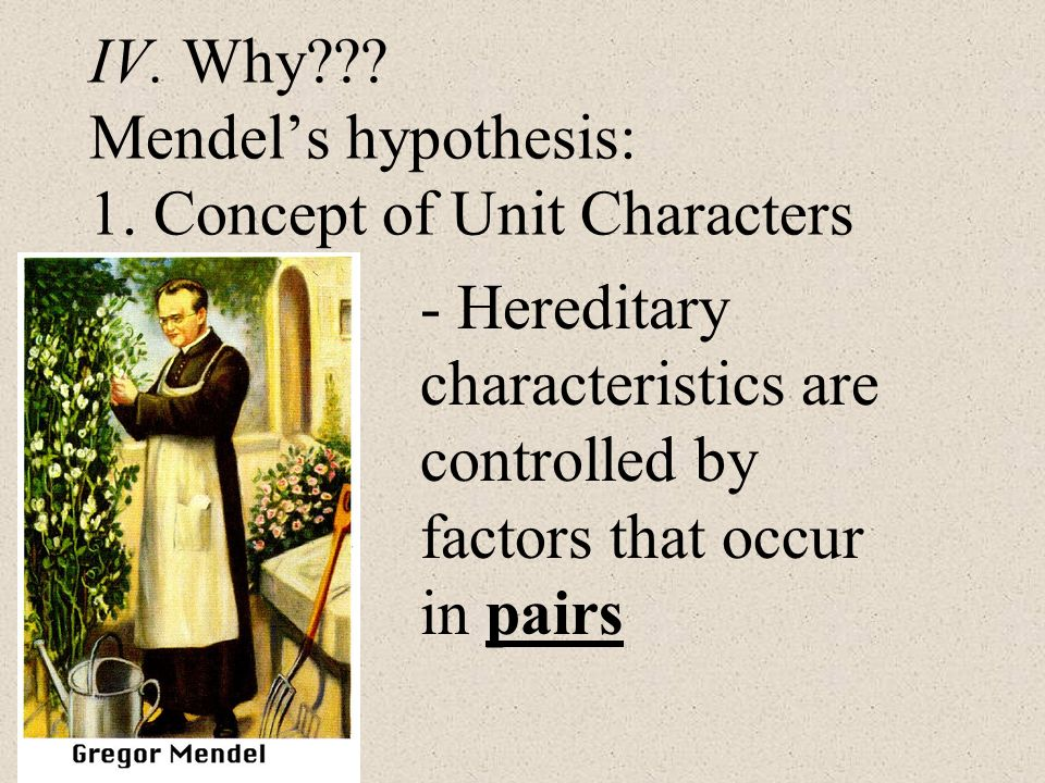 IV. Why Mendel's hypothesis: 1. Concept of Unit Characters