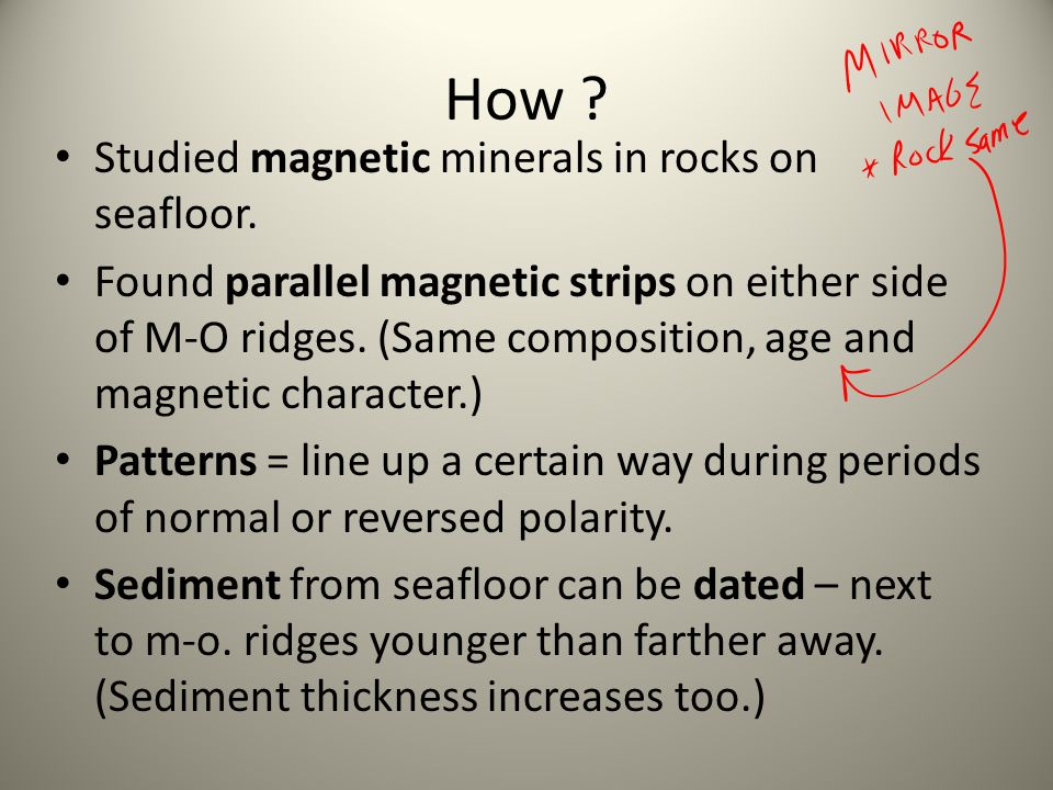 How Studied magnetic minerals in rocks on seafloor.