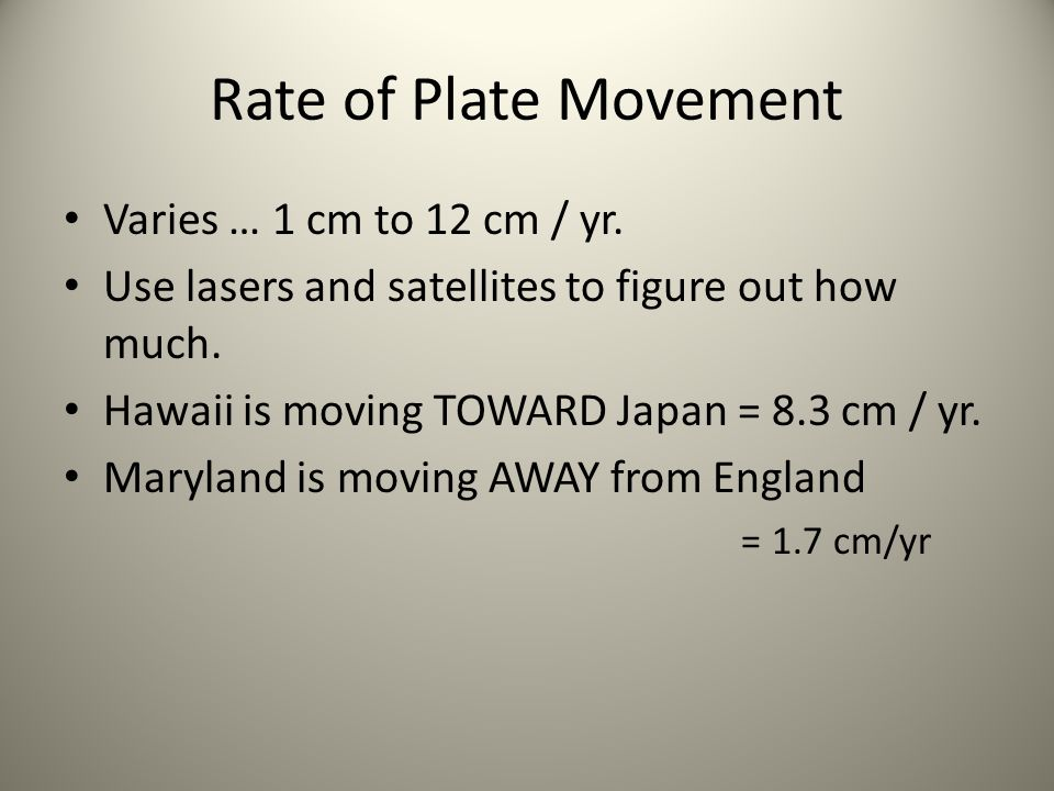 Rate of Plate Movement Varies … 1 cm to 12 cm / yr.