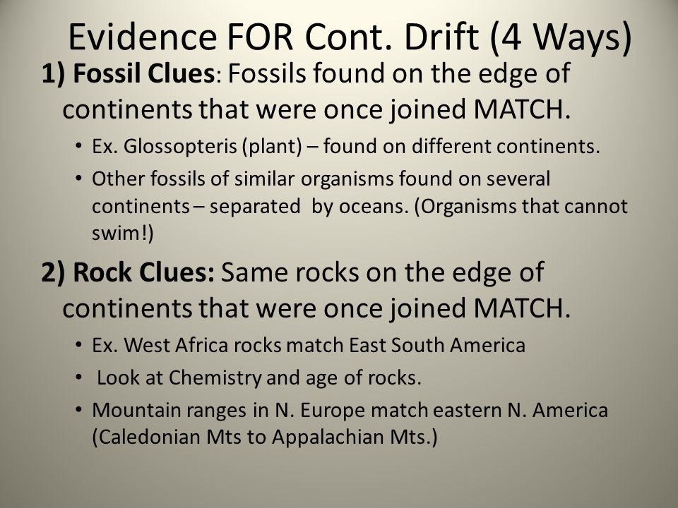 Evidence FOR Cont. Drift (4 Ways)