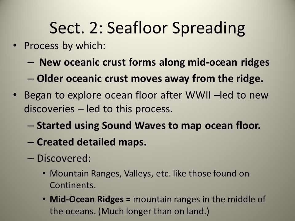 Sect. 2: Seafloor Spreading