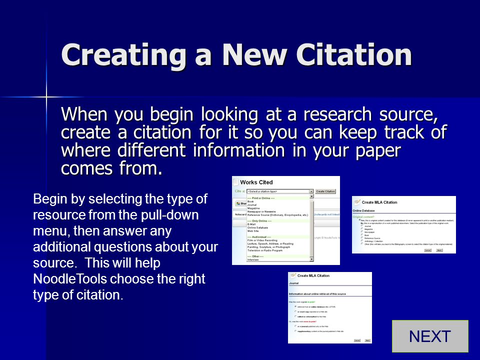 Creating a New Citation