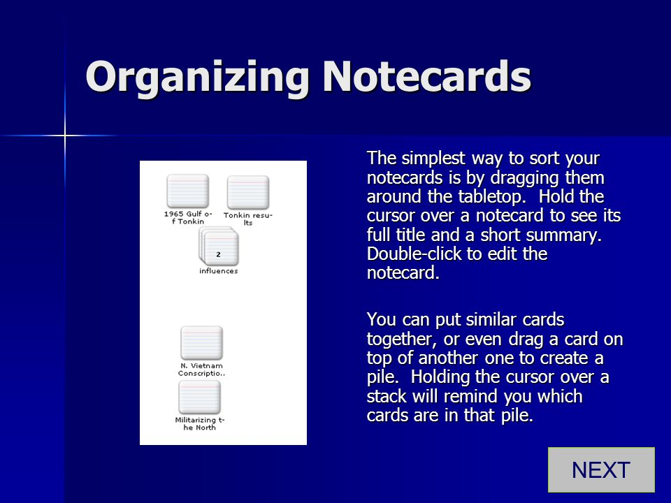 Organizing Notecards NEXT