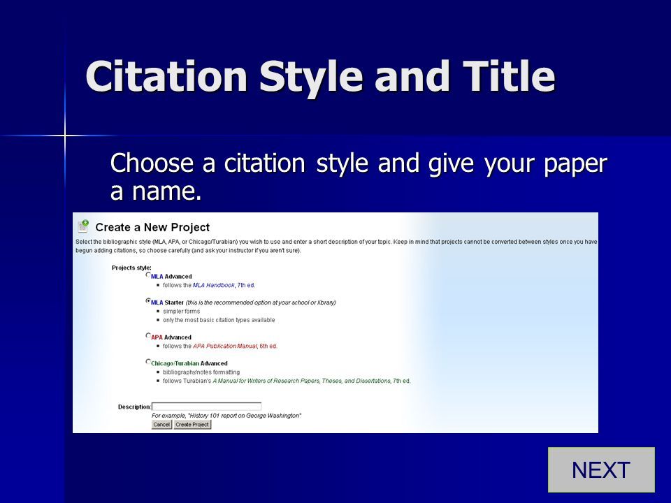 Citation Style and Title