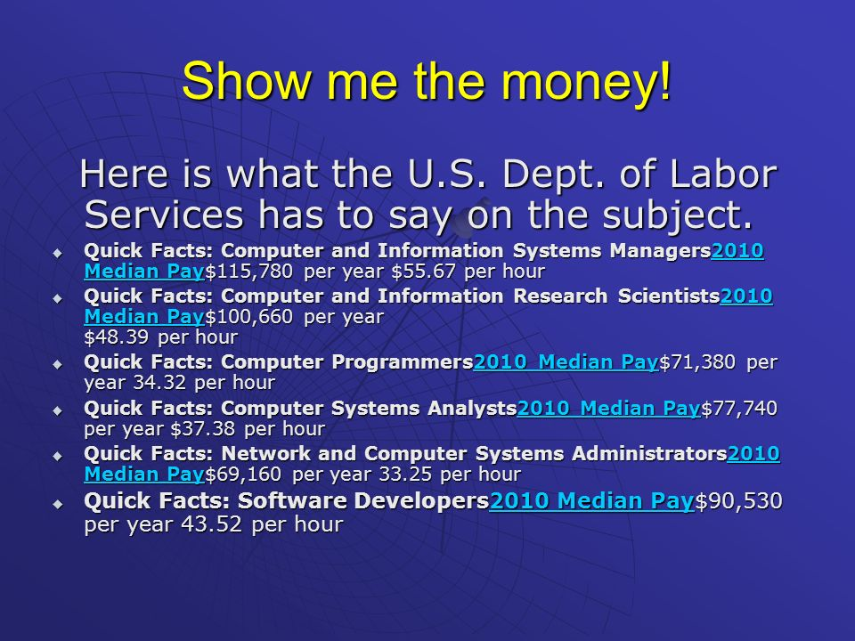 Show me the money! Here is what the U.S. Dept. of Labor Services has to say on the subject.
