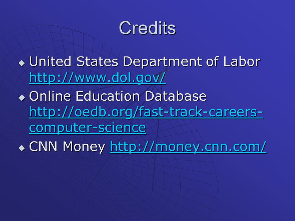 Credits United States Department of Labor http://www.dol.gov/