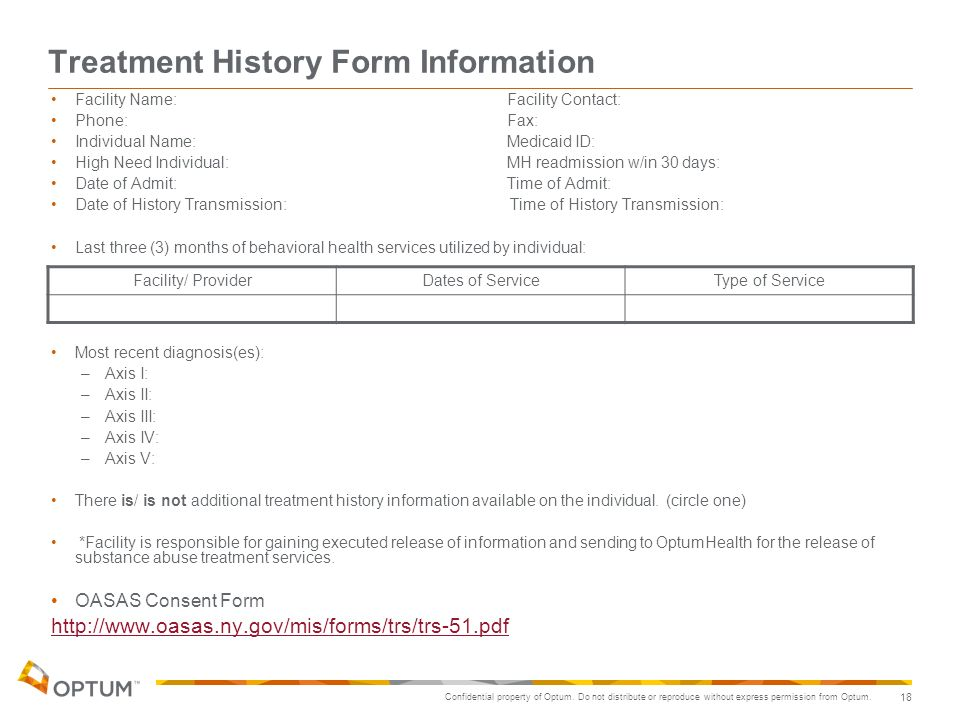Treatment History Form Information
