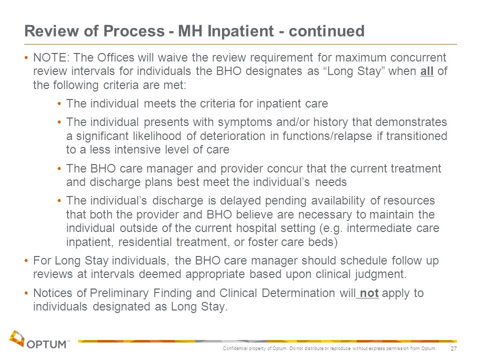 Review of Process - MH Inpatient - continued