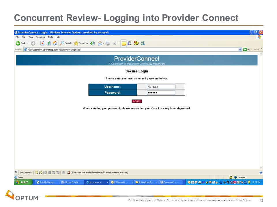 Concurrent Review- Logging into Provider Connect