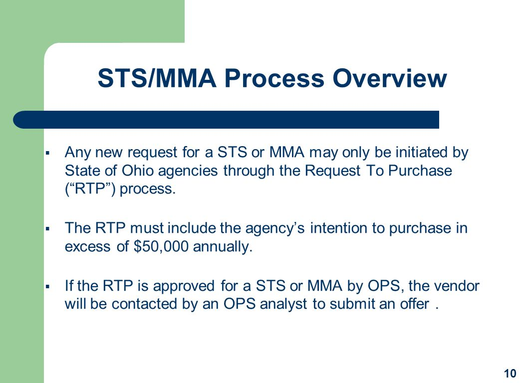 STS/MMA Process Overview
